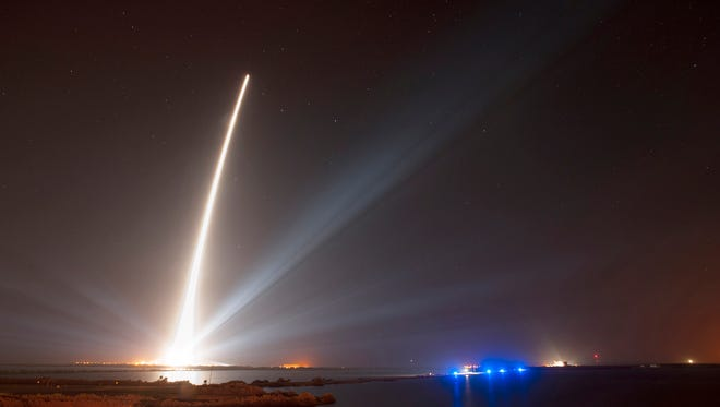 A Delta rocket carrying a global positioning satellite departs Feb. 20 from Kennedy Space Center.