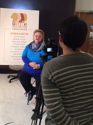 Carla Palumbo CEO of The Legal Aid Society of Rochester, NY filming for the Unite Rochester Challenge.