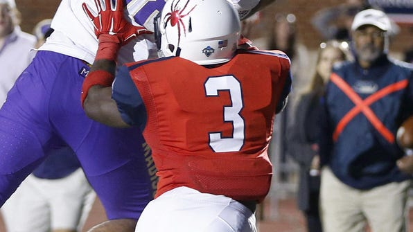 James Madison's Jonathan Kloosterman snags a touchdown
