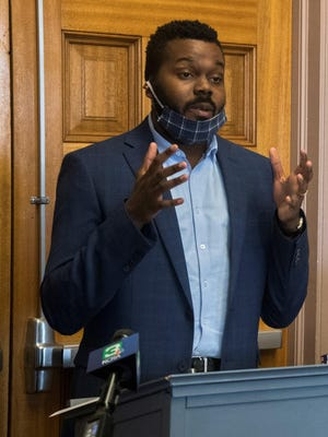Stockton Mayor Michael Tubbs, seen at a news conference in April, as the lone vote in favor of a proposal to require the wearing of face masks in public establishments in Stockton.