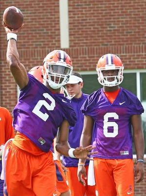 Kelly Bryant (2) and Zerrick Cooper (6) will enter spring practice as the favorites to win Clemson's starting quarterback job, but will either be able to hold off Hunter Johnson?