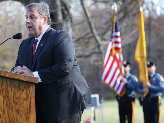 Gov. Chris Christie speaks at Monday's ceremony in