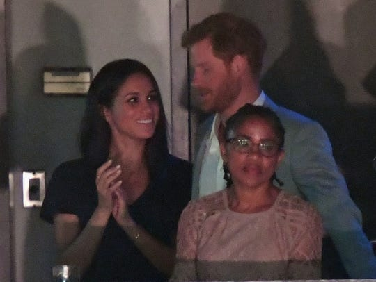 Meghan Markle and Prince Harry and Markle's mother,