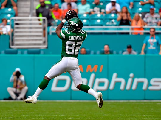 Nov 3, 2019; Miami Gardens, FL, USA; New York Jets wide receiver Jamison Crowder (82) makes a catch against the Miami Dolphins during the first half at Hard Rock Stadium. Mandatory Credit: Steve Mitchell-USA TODAY Sports
