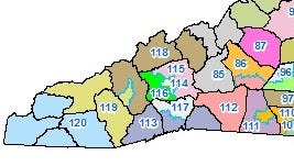 The district map for Western North Carolina seats in the N.C. General Assembly.