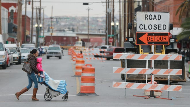 Detour signs were placed in the westbound lanes of Father Rahm Avenue between Kansas and Santa Fe streets Monday. The signs are the first step in the $97 million El Paso Streetcar project. The Camino Real Regional Mobility Authority announced that portions of Father Rahm, Stanton and Kansas streets will be closed for approximately four to six weeks. These segments will be part of a 4.8 mile route required to operate the streetcars. Stanton will be closed between River and Arizona avenues, Kansas Street will be closed between East Main Street and Texas Avenue.
