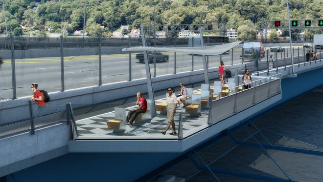 A rendering of one of the viewing 'belvederes' coming with the new Tappan Zee Bridge. The walking-biking path across the 3-mile span is due to open in 2018.