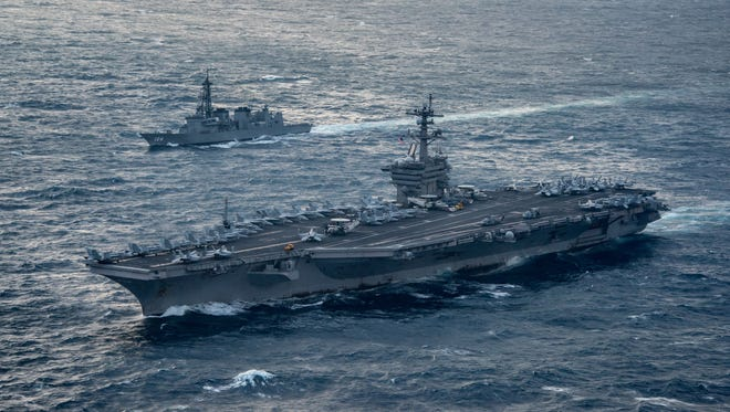 The aircraft carrier USS Carl Vinson in the East China Sea on March 9, 2017.