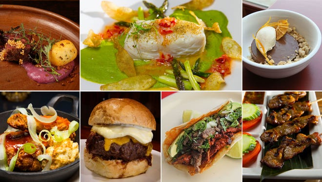 Some dishes from Carol Deptolla's top new Milwaukee restaurants of 2017: EsterEv (top row, from right), Third Coast Provisions, The Diplomat, Kindred (bottom row, from right), Tandem, Laughing Taco and AppeThai.