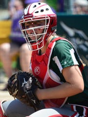 Olivia Jensen looks to the dugout Thursday for Oak Harbor.