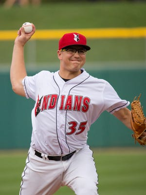 Indianapolis Indians pitcher Frank Duncan stretched his scoreless innings streak to 23 2/3 innings on Tuesday, April 23, 2016.