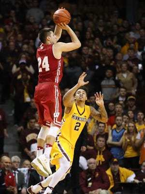 Badgers guard Bronson Koenig shoots the ball against Minnesota.