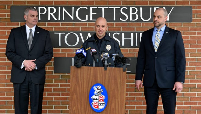 From left, Central York School District superintendent Michael Snell, Springettsbury Township Police chief Dan Stump and York County District Attorney Dave Sunday give a news conference Friday, Feb. 23, 2018, outside the Springettsbury Township Police station. The news conference was the sixth since Wednesday, when Central York School District shut down after threats were made via social media. Stump said no arrests have been made yet, and a decision will be made and announced Sunday as to whether schools will reopen Monday.