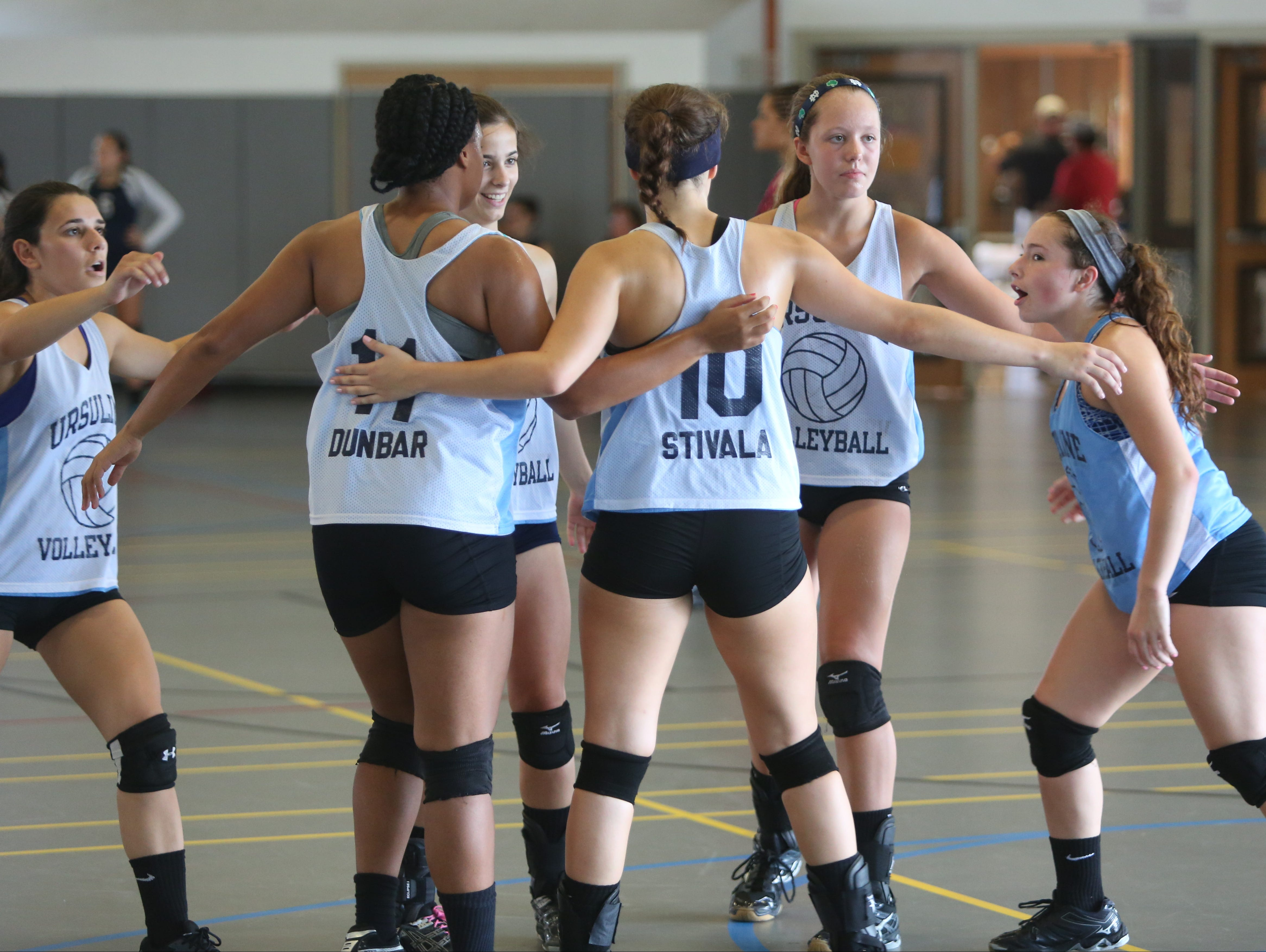 The Ursuline School celebrate a point against Ossining High School, during the Breast Cancer Awareness tournament at Hendrick Hudson High School in Montrose, Sept, 10, 2016.