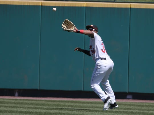 Niko Goodrum hauls in a catch in center field for the Rochester Red Wings. So far this season, the 25-year-old Georgia native has played every position but pitcher and catcher.