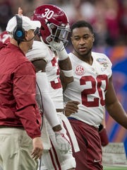 Time for Mack Wilson (30) to take the lessons learned from Shaun Dion Hamilton (20) and have an impact junior year at Alabama.