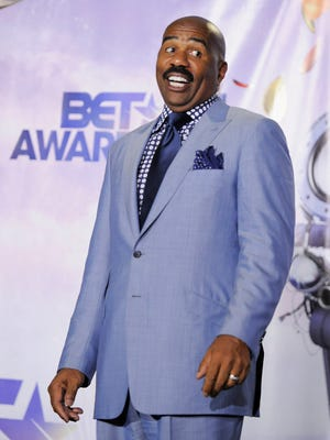 Steve Harvey poses backstage at the BET Awards on Sunday, June 26, 2011, in Los Angeles.