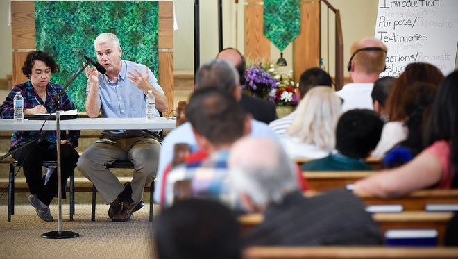 Congressman Tom Emmer answered question and listened to testimony during a public forum Sunday, Aug. 21, 2016, at the St. Joseph Church in Waite Park.