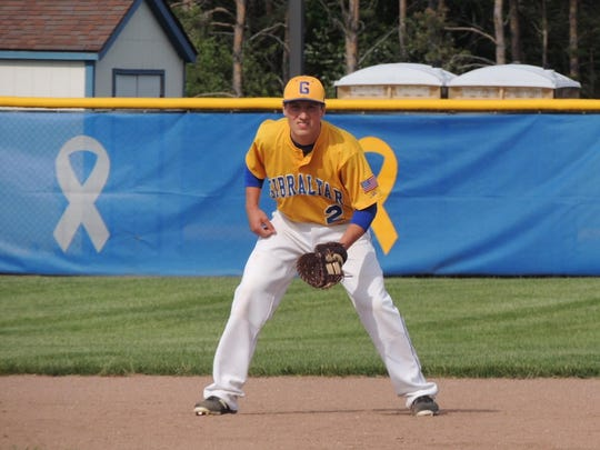 Kyle Keehan prepares for a pitch while playing first base for the Gibraltar baseball team Wednesday.