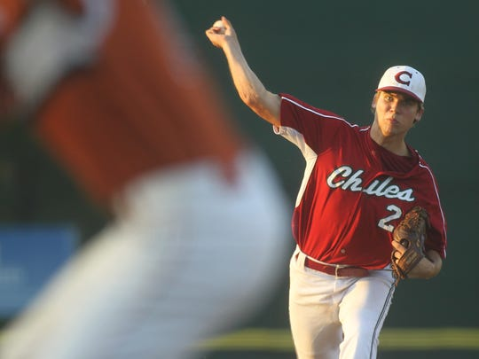Chiles' Zach Morea pitches against Atlantic Coast in a Region 1-8A quarterfinal.