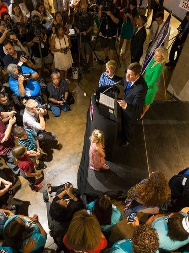 Phoenix Mayor Greg Stanton speaks to supporters at Desoto Central Market in Phoenix August 25, 2015.
