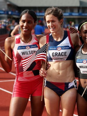 EUGENE, OR - JULY 04:  Kate Grace, first place, Ajee Wilson, second place, and Chrishuna Williams, third place celebrate after the Women's 800 Meter Final during the 2016 U.S. Olympic Track & Field Team Trials at Hayward Field on July 4, 2016 in Eugene, Oregon.  (Photo by Patrick Smith/Getty Images)