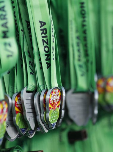 Finishers medals for the Rock 'n' Roll half-marathon in Tempe on Jan. 14, 2018.