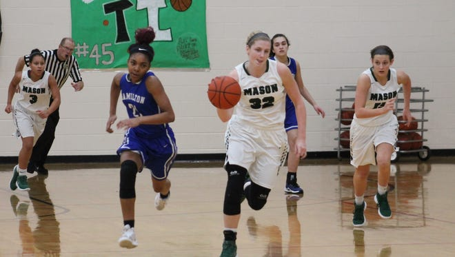 Sammie Puisis races ahead of Hamilton's CiCi Riggins in Mason's victory over the Big Blue Feb. 4.