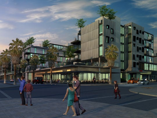 A sketch of the proposed Virgin Hotel in downtown Palm Springs.