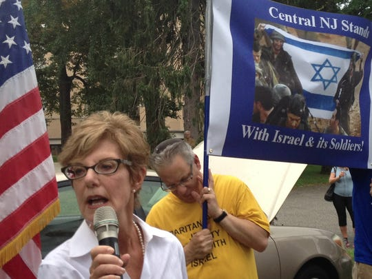 Highland Park Mayor Gayle Brill Mittler speaks on Wednesday at a rally organized by Central Jersey Stands with Israel.