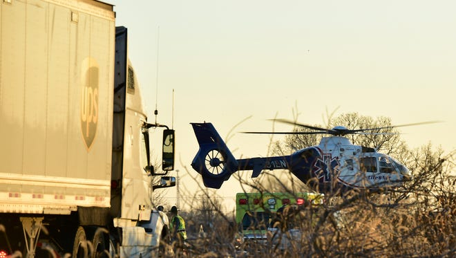 LifeNet 81, Hagerstown, helicopter takes off from the scene of Wednesday's fatal crash near exit 20 of Interstate81. An SUV reportedly collided with a tractor-trailer.