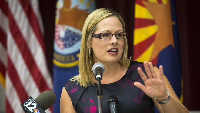 U.S. Rep. Kyrsten Sinema is leading a charge in Washington for greater accountability and accessibility to the VA while speaking at the Veterans First: Health care, benefits and resource clinic at the Montecito Community School in Phoenix, on Tuesday, July 1, 2014. The all-day fair gives veterans opportunities to sign up for medical appointments, get advise on eligibility and benefits, receive a variety of counseling services as well as talk to various venders about services they offer.