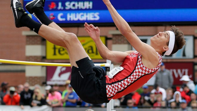 Lourdes Academy's Connor Barfknecht clears the bar in the Division 1 high jump during the WIAA state track and field meet at Veterans Memorial Stadium Saturday, June 2, 2018, in La Crosse, Wis.