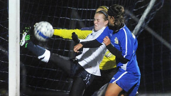 Nicole Gerritz, left, is a key player for No. 3 Webster Thomas. She scored the winning goal in the sectional final last fall.