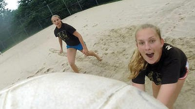 Clarkstown South twins Barbara, left, and Nastasia Kapustin play sand volleyball at the Herb Reisman Sports Complex in Pomona July 4, 2014.
