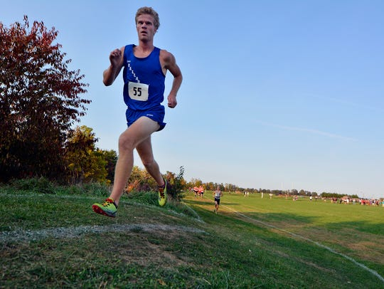 Dallastown's Patrick Jacobson leads the pack with about