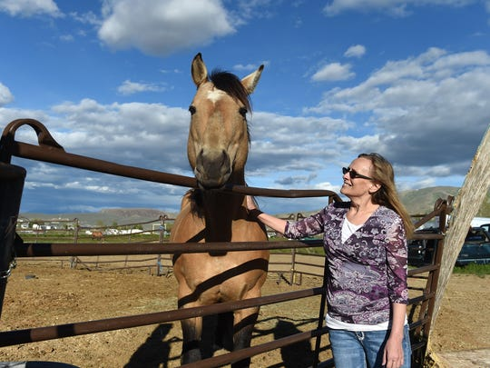 Konda Wakely pets one of the family horses on their property in Elko. Wakely uses the cannabidiol oil (commonly known as CBD oil) for her chronic pain. Using the CBD oil is helping her wean off her opioid based medication.