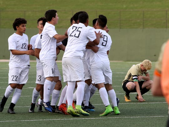 Del Valle celebrates their 1-0 win over Rider Friday,
