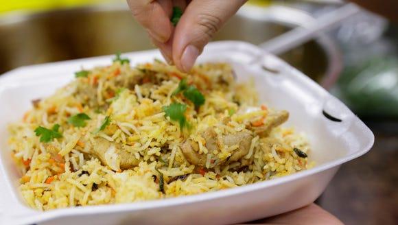 Chicken biryani prepared at Bismillah Groceries and