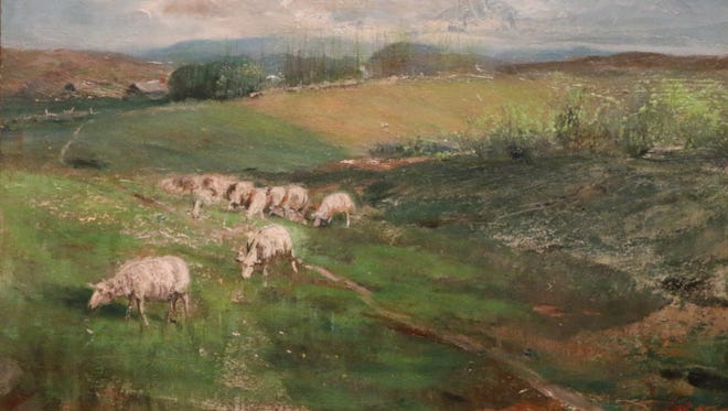 """Lloyd Branson, """"Pasture with Grazing Sheep,"""" c. 1920, oil on board. Collection of the Tennessee State Museum."""