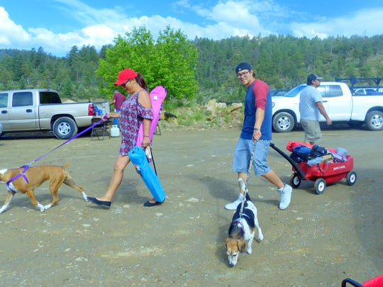 Adults and their dogs  also took advantage of the free fishing day at Grindstone Reservoir.