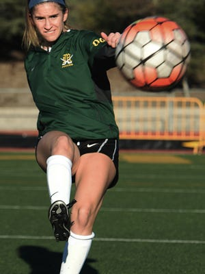Jordyn Geller, a Moorpark High striker, kicks the ball at practice. The Moorpark team, which is ranked sixth in CIF-Southern Section Division 2, has won eight straight games in 2017.