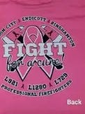 A pink shirt being sold by local fire departments for a fundraiser to fight breast cancer.