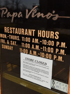 The Papa Vino's Italian Kitchen Restaurant on Haggerty in Northville Township, and two others in the Detroit area, closed abruptly on Feb. 20.