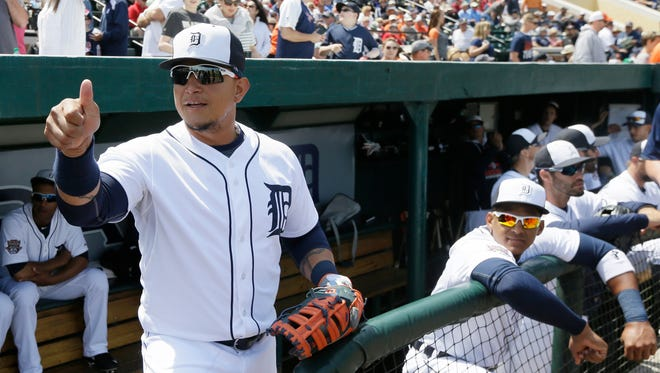 Detroit Tigers first baseman Miguel Cabrera gives a thumbs up before the first inning Saturday.