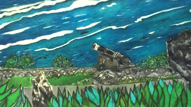 """Cannon"" done by Taliea Guerrero-Strohmeyer, one of the three artists for the ""9 Views of Guam Exhibit."" Opening night is 6 to 9 p.m., Dec. 4 at the Guam Council on the Arts and Humanities Agency, HagåŒtñ–a. The exhibit will run throughout the month of December."