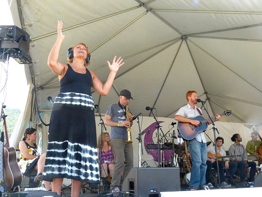 Sign-language interpreters at Falcon Ridge Folk Festival
