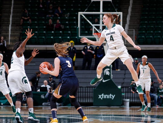 Michigan State's Taryn McCutcheon, right, and Nia Hollie,
