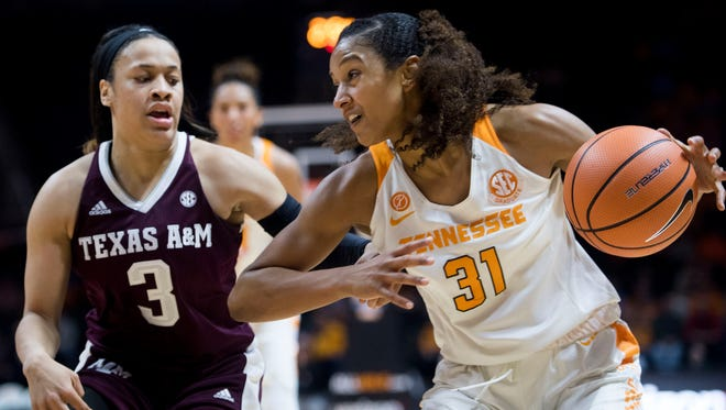 Tennessee's Jaime Nared drives to the basket while defended Texas A&M's Chennedy Carter on Thursday, February 1, 2018.