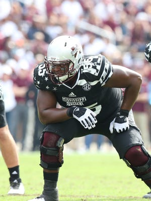 Mississippi State's sturdy left tackle Martinas Rankin could be the team's center this fall.